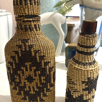 2 Basket Covered Bottles Hupa? Makah?  - Native American