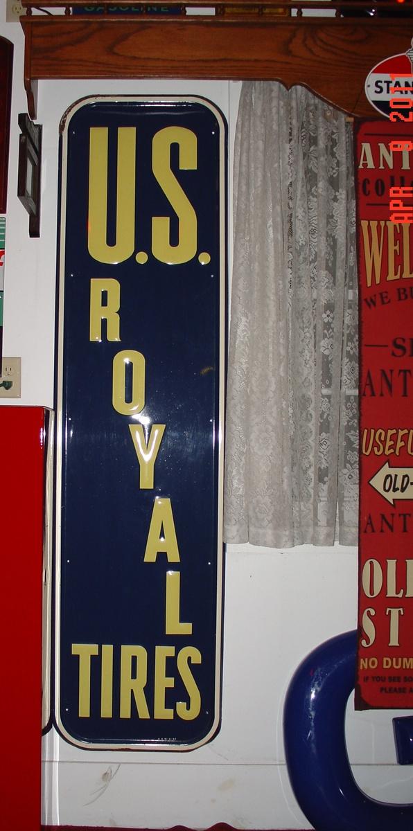 Antique Vintage Old Style U.S Royal Tire Sign