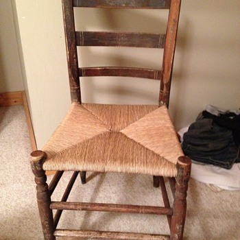 Caned Rush Chair with Stenciling - Furniture