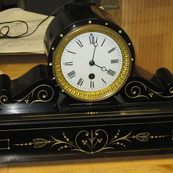 French Slate Tambour Clock, Time Only