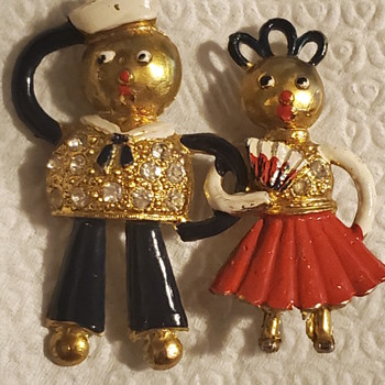 WWII sailor and his girlfriend sweetheart brooch - Costume Jewelry