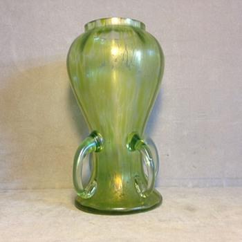 Loetz 4 Handle Prod. Nr. II-151 Creta Ciselé Vase Ca 1900 - Art Nouveau