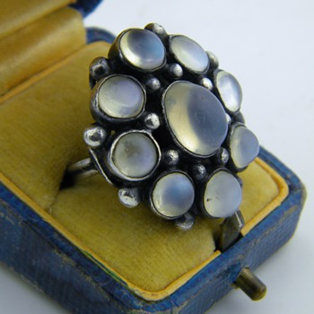 Vintage Antique Ceylon Moonstone Sterling 32mm x 27mm - Fine Jewelry