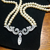 Double Strand Pearl Choker with Rhinestone Show Stopper