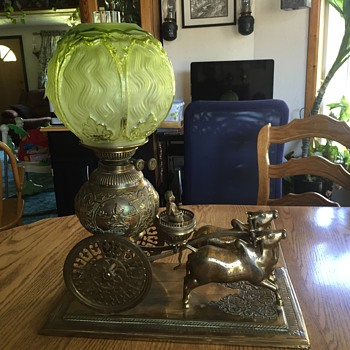 Oriental Oxen and cart oil lamp with double burner - Lamps