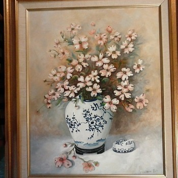 """ Dogwood in an Chinese Jar"" By Berniece Iott /18"" x 24"" Oil On Canvas/Circa 20th Century - Fine Art"
