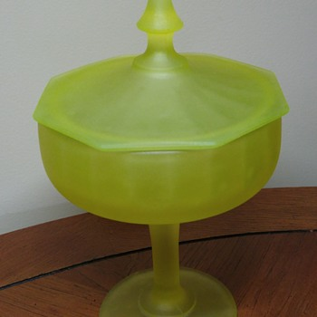 Vaseline satin candy dish with lid