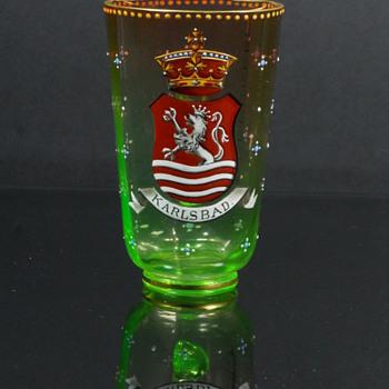Moser? Enameled Rubina Verde bath salts measuring cup - Art Glass