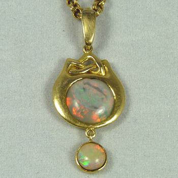 Liberty & Co Opal and Gold Pendant designed by Archibald Knox - Art Nouveau