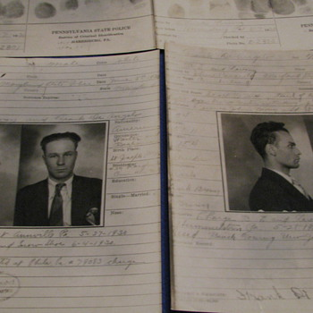 1930 Arrest Photos and Finger Prints (Pennsylvania State Police)