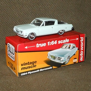 Auto World True 1:64 Scale 1964 Plymouth Barracuda  - Model Cars