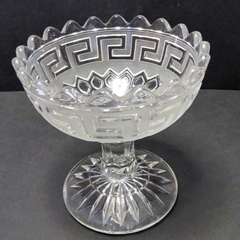 Pressed Glass Footed bowl / Compote - Key pattern - Glassware