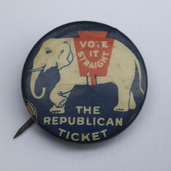 Vote It Straight Republican Party Pin from C. 1920
