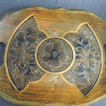 Hand Painted Wooden Tray Mexico