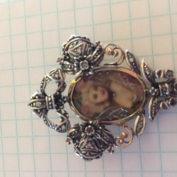 Hand Painted Miniature Portrait Victorian Brooch Pin, Marked on Back - Fine Jewelry