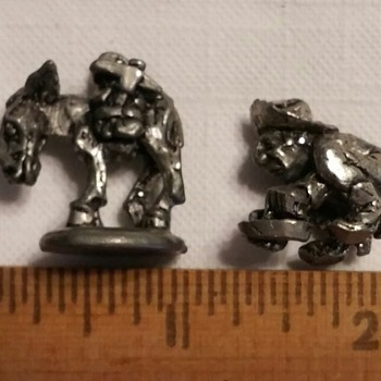Pewter prospector and his pack mule - Figurines