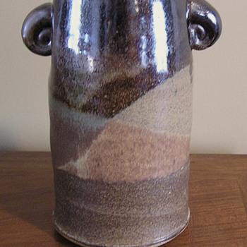 Stoneware multi-glazed lugged vase - Pottery