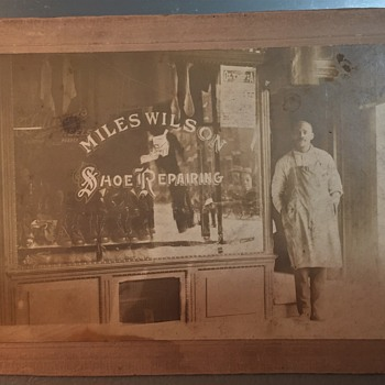 Old Photograph shoe cobbler Miles wilson philadelphia and his Shop - Photographs