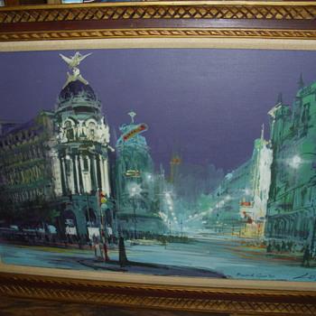 madrid gran via oil painting,   ANY INFO ON WHO ARTIST IS thanks - Fine Art