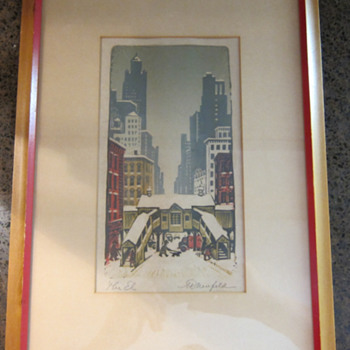 RARE  -  Woldemar Neufeld -  The El - Color Woodblock Print - Posters and Prints