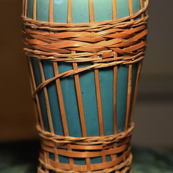 Teal Blue Awaji Vase with Basketry Intact - Pottery