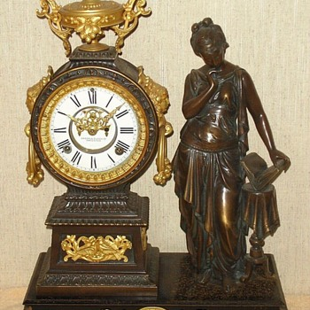 "Ansonia's ""Poetry"" Figural Mantel Clock - Clocks"