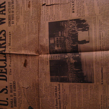 New York Sun, Dated Monday, December 8, 1941 - Paper