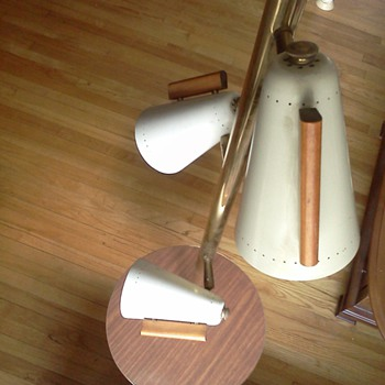 Stiffel tension lamp with table