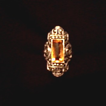 Citrine-Topaz (?) and Marcasite Sterling Art Deco Ring/Marked Ster[Theda]Ling /Circa 1920's- 30's