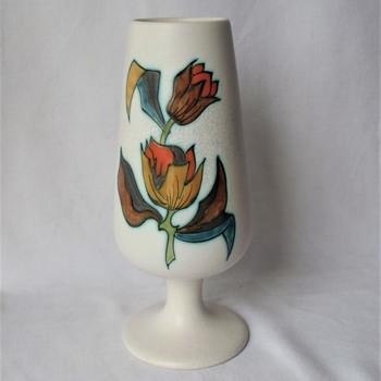 "Vintage Flora Gouda Coupe Vase Ceramic Rimini Signed 9"" - Pottery"