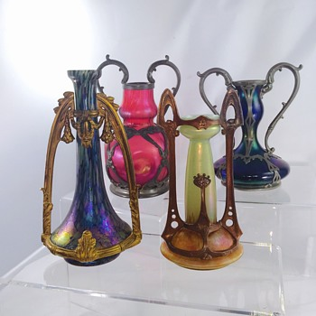 Nouveau Rindskopf Poschinger Kralik Unknown Mounted Vases  - Art Glass