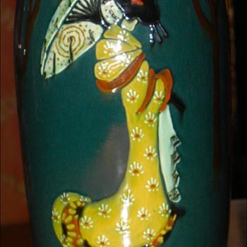 Weller Jap Birdimal Vase - Pottery