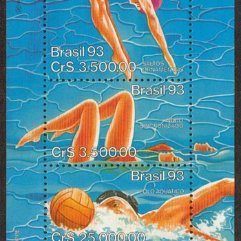 "1993 - Brazil ""Water Sports"" Souvenir Sheet - Stamps"