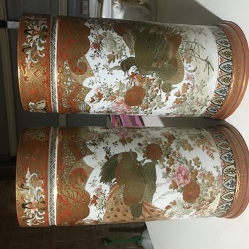 Pair Japanese Kutani Meiji vases - Asian