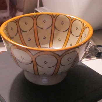 little pottery bowl yellow  - Pottery