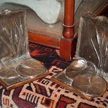 McClelland Barclay Bookends Pair Lily Pads Cattails Art Nouveau  - Art Nouveau
