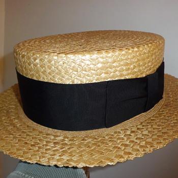 Knox vintage straw boater hat