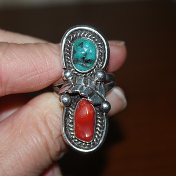 Large Ring with Coral and Turquoise - Fine Jewelry