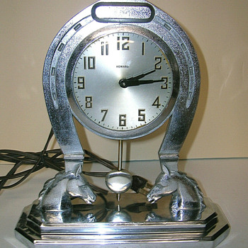 1930-33 Howard Clock Corporation, Horseshoe Clock with Swinging Pendulum - Clocks
