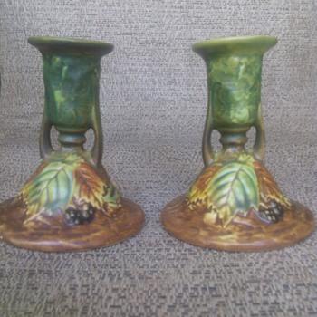 Roseville Blackberry Candlesticks - Pottery