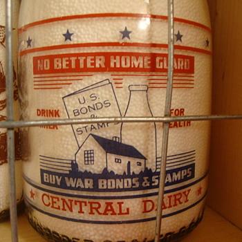 CENTRAL DAIRY CREAMTOP WAR SLOGAN....TWO DIFFERENT SLOGANS - Bottles