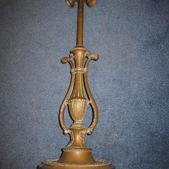 Antique LIGHTOLIER Two Light Brass Table Lamp Art Deco or Nouveau - Lamps