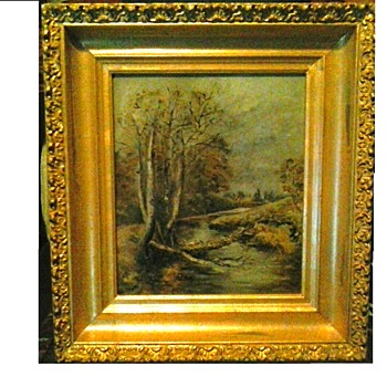 Autumn Landscape/ Oil On Canvas/ 19.5 x 20.5 Framed/ Signed C.F. 91'/ Circa 19th Century - Fine Art