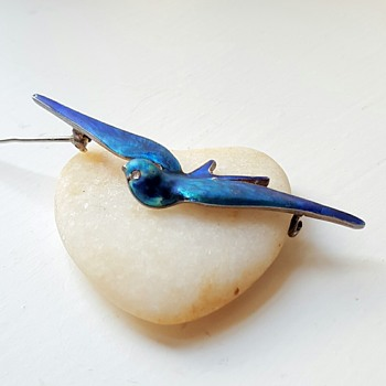 Blue bird silver enamel Meyle and Mayer brooch. - Fine Jewelry