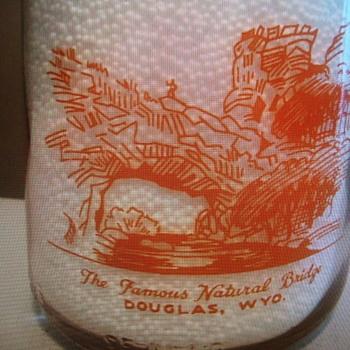 """DOUGLAS WYOMING MILK BOTTLE FEATURING """"NATURAL BRIDGE""""......... - Bottles"""