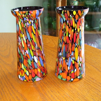 Pair of  FRANZ WELZ or Kralik? unusual-shaped VASES with Thick Confetti Spatter - Art Glass