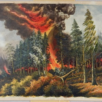 Silk Painting (Tapestry?  Needlepoint?) of Forest Fire - Fine Art