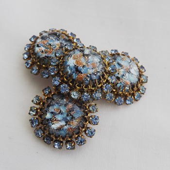Czech vintage blue and gold aventurine marbled glass brooch is what I think this is. Help please! - Costume Jewelry