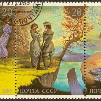 """1989 - Russia """"American Frontier Scenes"""" Postage Stamps"""