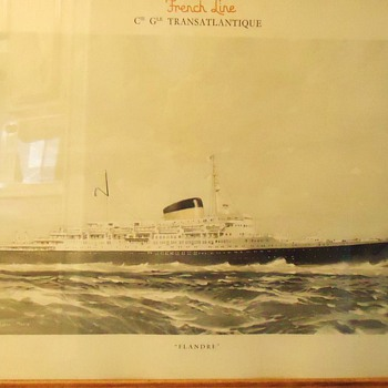 Marin Marie 1901-1987, French Modernist Artist Colored photo print, 1st Fr. Ocean Liner after WW-2.  - Posters and Prints